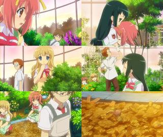 秋姫すももをなぐさめる八重野撫子。桜庭圭介と小岩井フローラが手伝いに来る