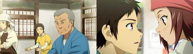 むぎはおどり(麦屋踊り)の花形として期待される眞一郎。愛子と仲良くしているが、彼氏の三代吉が現れたので帰宅する