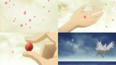 赤い木の実のような雪が降り、地べたが飛ぶ幻想を見る眞一郎