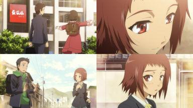 愛子は眞一郎が乃絵と仲良くしているのを見かける
