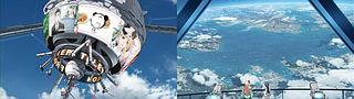 交通システム中継局の展望台からアイランドワンを眺めるアルトとシェリル(第5話)