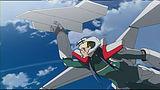 紙飛行機を持って空を飛ぶアルト(第1話)