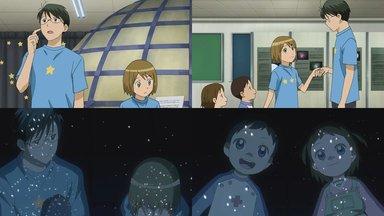 子供二人がプラネタリウムを見に来る